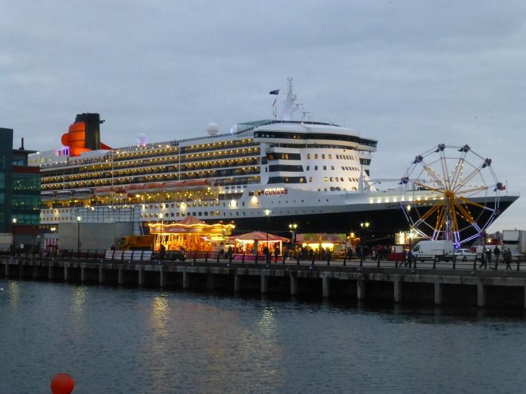 Queen Mary 2 at dusk, Liverpool