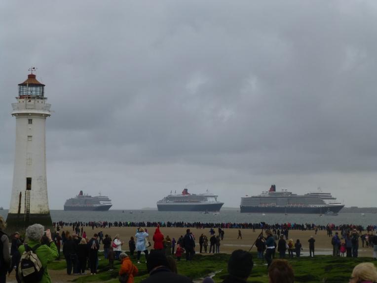 Three Cunard Queens from New Brighton
