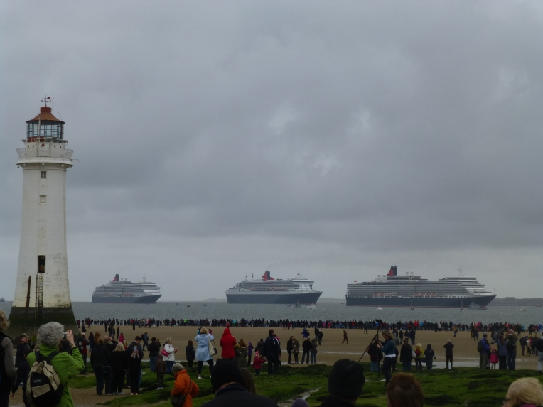 Three Cunard Queens from New Brighton