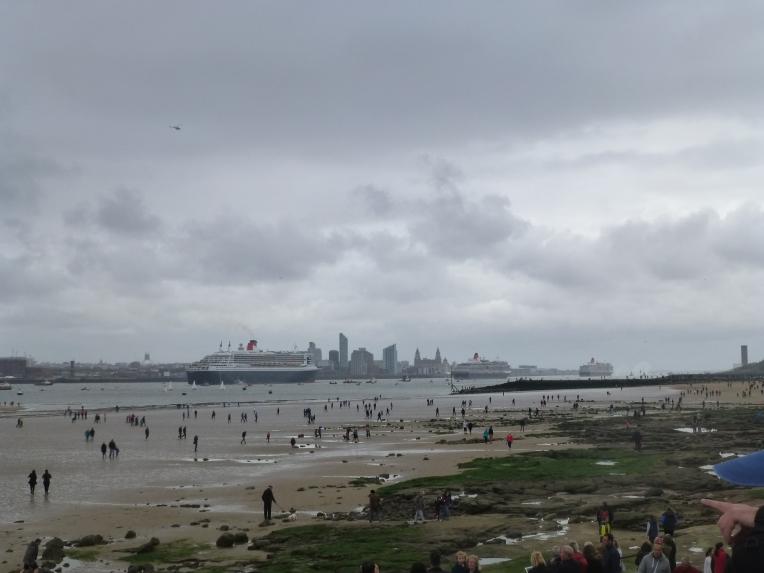 Three Cunard Queens heading towards Liverpool