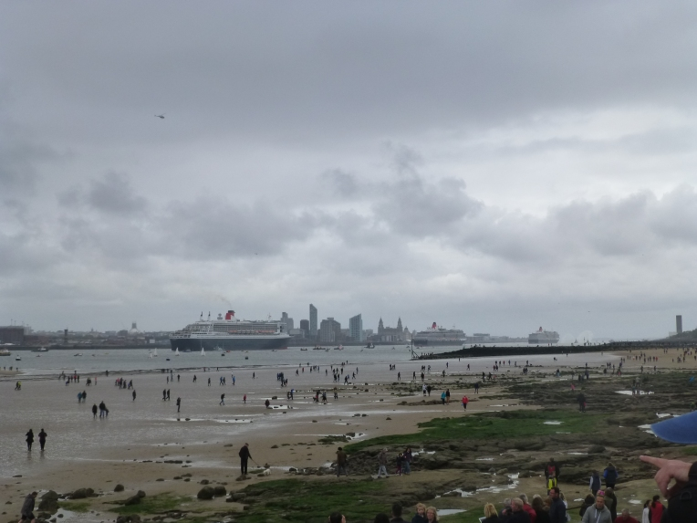 Three Cunard Queens heading towards Liverpool