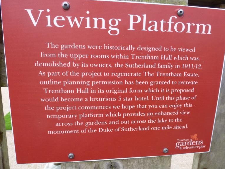 Trentham Hall Viewing Platform Sign